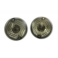 Upgrade Lights Pair Kit Clear 95mm with bulbs and holders   Suitable for Defender Vehicles.