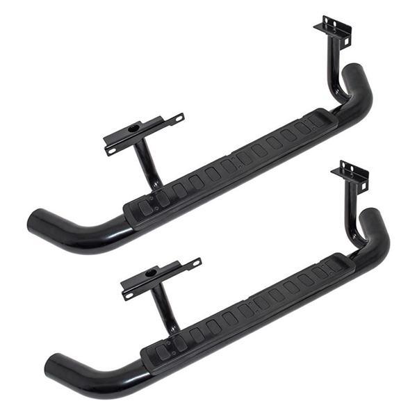 Deployed Side Steps For Range Rover Genuine Accessory: Defender 90 Black SVX Tubular Side Steps With Rubber And