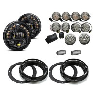 Land Rover Defender Black Projector LED Alien Headlights with DRL Light Package - Clear Full