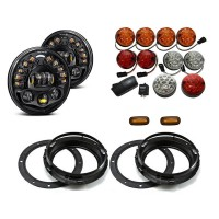 Land Rover Defender Black Projector LED Alien Headlights with DRL Light Package - Colour Full