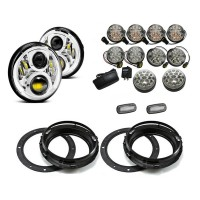 Land Rover Defender EVO Chrome LED Light Package - Clear Full